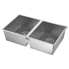 IKEA NORRSJON (391.579.19) Подвійна мойк, нержавіюча сталь