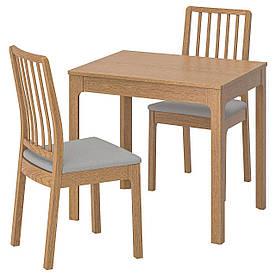 IKEA EKEDALEN / EKEDALEN (992.213.90) Стол и 2 стула, dab, Orrsta светло-серый