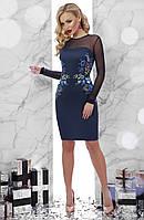 Вечернее синее платье по фигуре до колен с длинными рукавами из сетки принт Вышивка Донна2 д/р