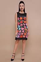 1cf8a3b0d87 Нарядное короткое велюровое платье без рукавов с ярким принтом Цветочная  феерия Эдита б р
