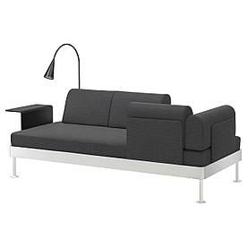IKEA DELAKTIG (092.597.59) Диван 3-місний стіл/лампа, анклацит з ангидритом