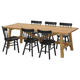 IKEA MOCKELBY / NORRARYD (591.614.92) Стіл та 6 стільців, дуб, чорний