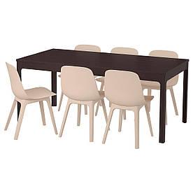 IKEA EKEDALEN / ODGER (492.213.21) Стіл та 6 стільців, темно-коричневий, білий