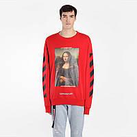 Свитшот OFF WHITE Mona Lisa Red • Все размеры • Оригинальный принт • Топ бренд