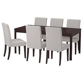 IKEA EKEDALEN / HENRIKSDAL (492.292.61) Стіл та 6 стілець, темно-синій, Orrsta світло-сірий
