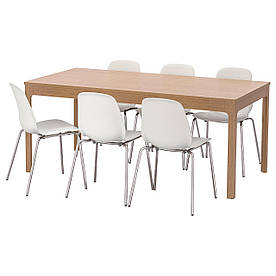 IKEA EKEDALEN / LEIFARNE (492.292.23) Стіл та 6 стільців, чорна, біла