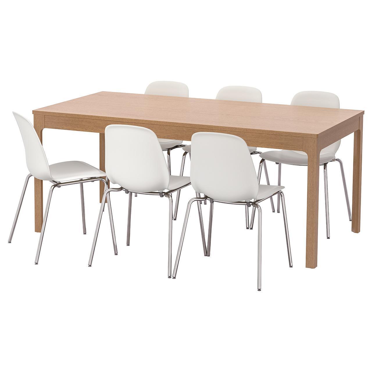 IKEA EKEDALEN / LEIFARNE (392.214.25) Стол и 6 стульев, черная, белая