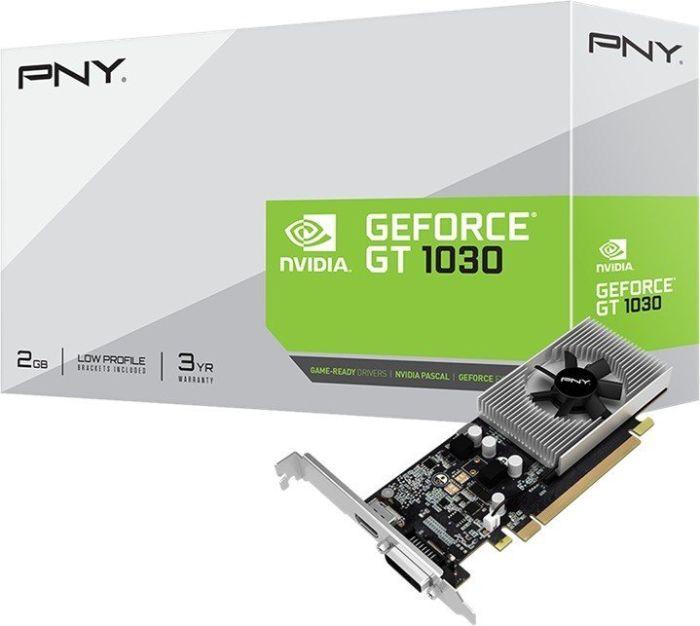 Видеокарта GeForce GT1030 OC, PNY, 2 Гб DDR5, 64-bit (GF1030GTLF2GEPB), відеокарта