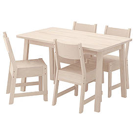 IKEA NORRAKER / NORRAKER (991.170.77) Стол и 4 стула, белая береза, белая береза