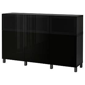 IKEA BESTA (092.081.85) Шкаф, белый Lappviken, светло-серое бесцветное стекло