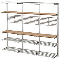 IKEA KUNGSFORS (292.543.41) Рейлинг с полкой/решеткой, нержавеющей сталью, золой