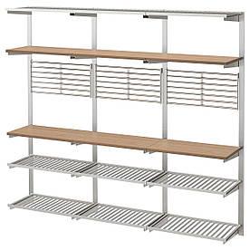 IKEA KUNGSFORS (292.543.41) Рейлінг з полицею/ґратами, нержавіючої сталлю, золою