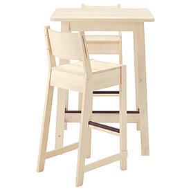 IKEA NORRAKER / NORRAKER (091.615.74) Барный стул и 2 стола, белая береза, белая береза