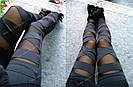 💣 Черные леггинсы для девушек — нарядные лосины с сеткой, легинсы с сеточкой 💣, фото 9