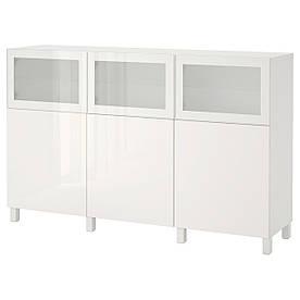 IKEA BESTA (892.081.91) Шкаф, белый Lappviken, светло-серое бесцветное стекло