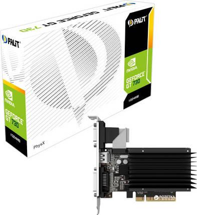 Видеокарта GeForce GT730, Palit, 1 Гб DDR3, 64-bit, низкопрофильная, Silent (NEAT730NHD06-2080H), відеокарта, фото 2