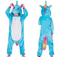 Кигуруми пижама детская единорог голубой 130 см 1ddc4d3162427