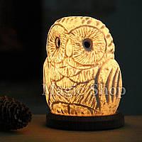 Соляная лампа HealthLamp Совенок | Ночник из природной Соли с регулятором яркости
