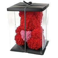 3  D мишка из фоамирановых роз (красный) 40 см