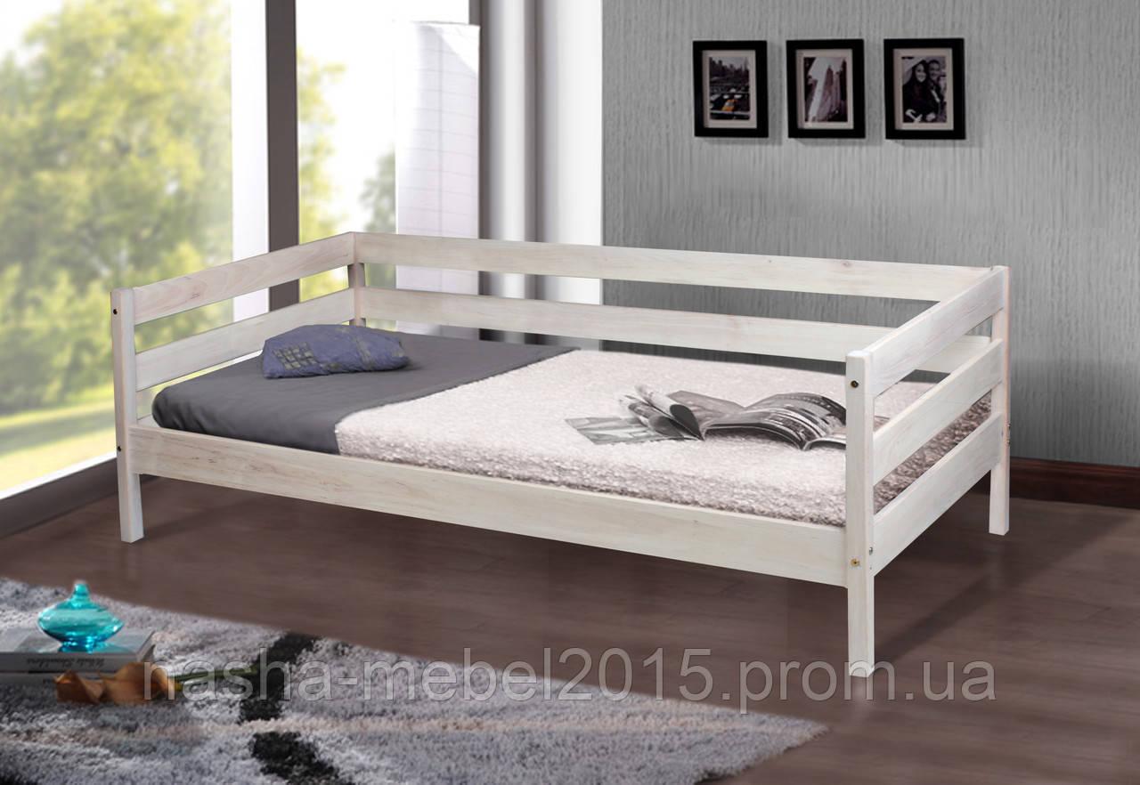 Полуторная Деревянная Кровать подростковая Sky-3 беленая