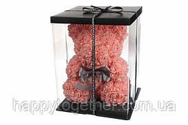 3  D мишка из фоамирановых роз (розовый) 40 см