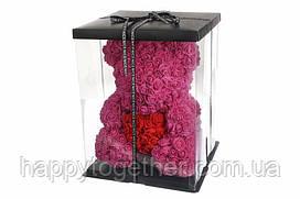 3  D мишка из фоамирановых роз (малиновый) 40 см