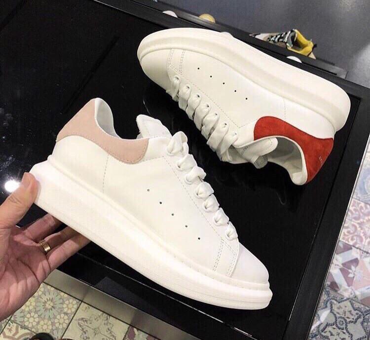 5dcc5314aa9617 Женские Белые кроссовки на платформе Alexander McQueen пятка пудра натуральная  кожа - ГЛЯНЕЦ | Интернет-