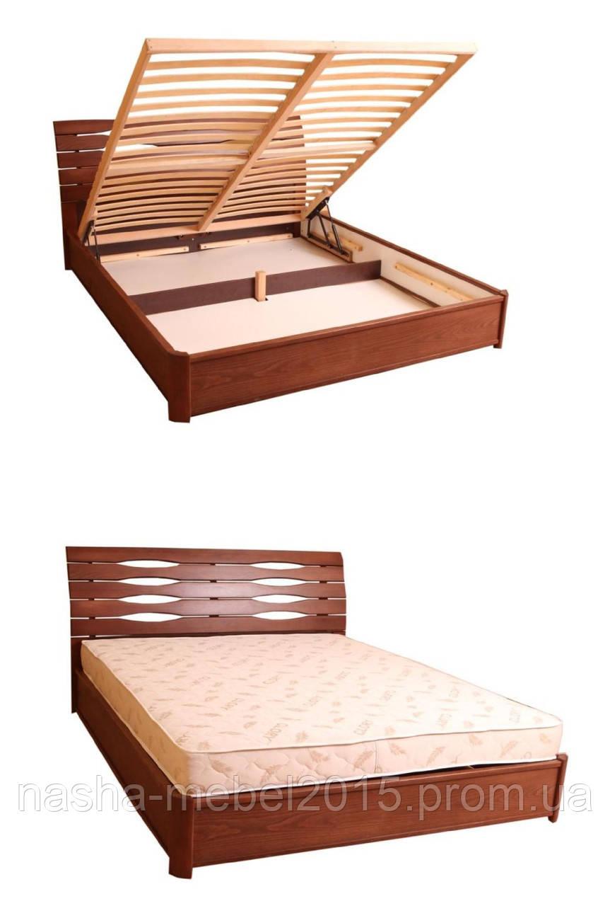Деревянная Кровать двухспальная Мария с подъемной рамой 1,4м