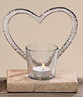 Подсвечник Сердце стекло на деревянной подставке h15см Гранд Презент 1538900