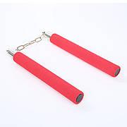 Безопасные нунчаки (нунтяку) для тренировки, детские мягкие, Нунчаки с безопасным покрытием. Красные