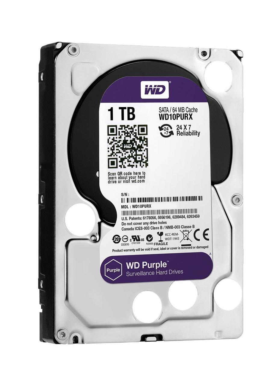 "Жесткий диск для компьютера 3.5"" 1 Тб/Tb Western Digital Purple, SATA3, 64Mb, IntelliPower (WD10PURX), винчестер hdd"