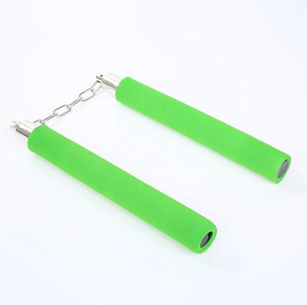 Безопасные нунчаки (нунтяку) для тренировки, детские мягкие, Нунчаки с безопасным покрытием. Зеленые.