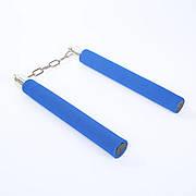 Безопасные нунчаки (нунтяку) для тренировки, детские мягкие, Нунчаки с безопасным покрытием. Синие