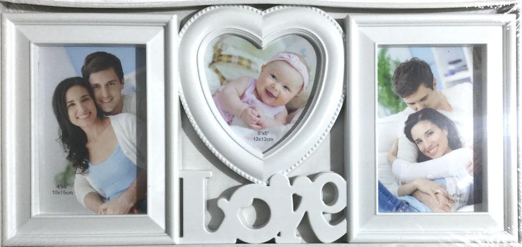 Коллаж на 3 фото Love, белый