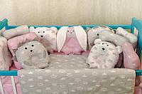 """Детский набор постельного в кроватку """"Звери"""" бело-серо-розовая"""