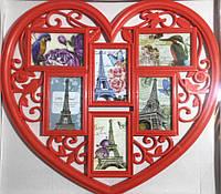 Коллаж в форме сердца на 6 фото, красный