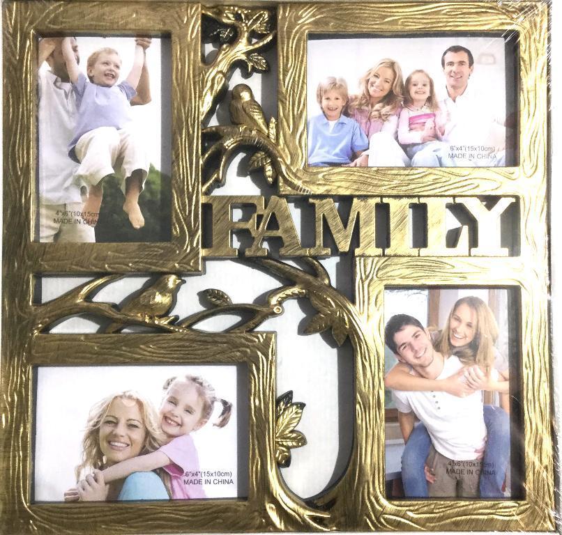 """Фоторамка """"Семейное дерево"""" на 4 фотографии, бронза"""