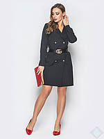 Оригинальное черное платье с поясом Ирис, фото 1