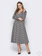 Модное стильное платье в клетку Стефания, клетка т.серый коричневый, фото 1