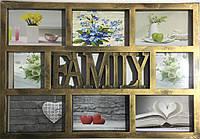 Мультирамка на 8 фото Family, бронза