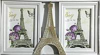 Фоторамка коллаж на 2 фото Париж, с позолотой