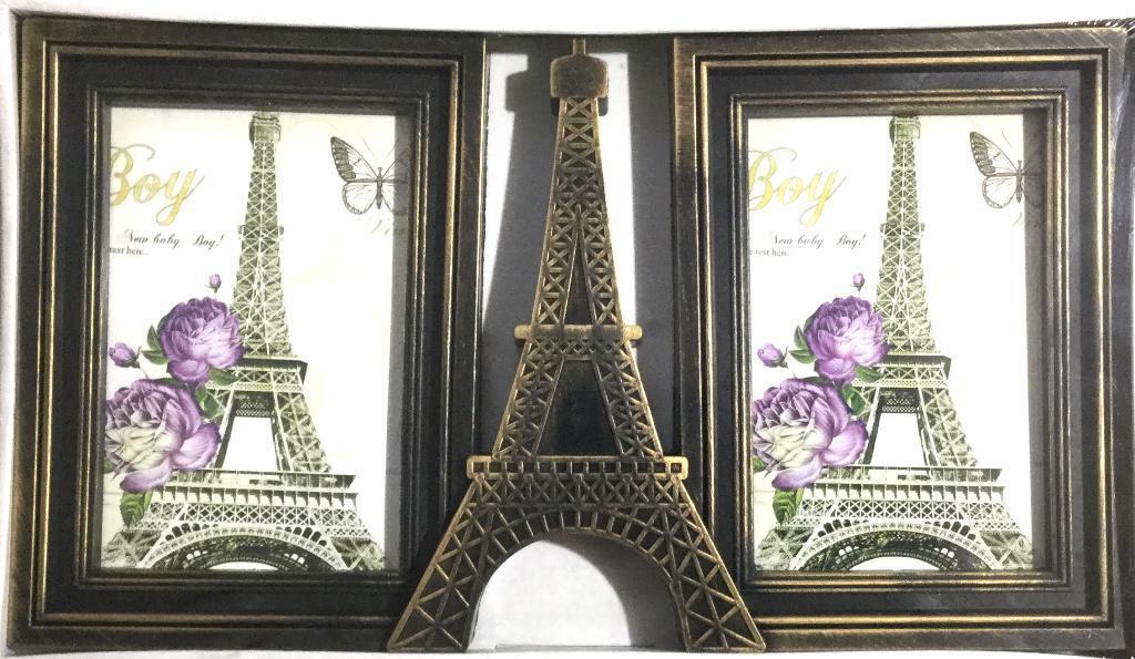 Фоторамка коллаж на 2 фото Париж, бронзовая