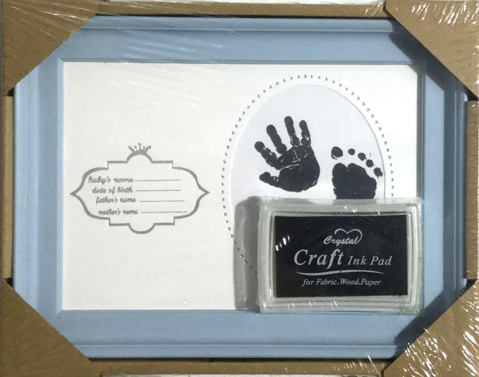 Рамка детская для чернильного отпечатка ручки и ножки, голубая