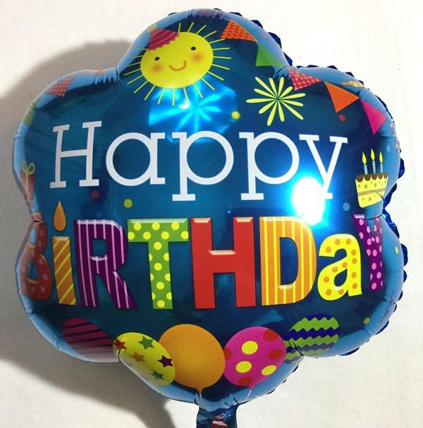 """Фольгированный в форме цветка шар """"Happy Birthday"""""""
