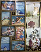 Фоторамка бронзовая Семейные истории на 12 фото 13х18 см