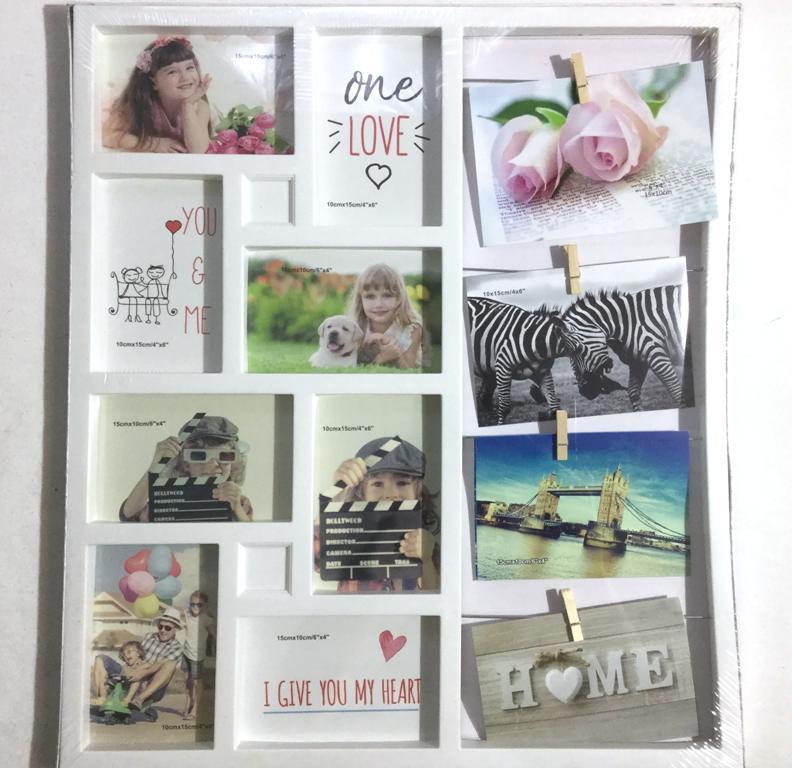 Белая фоторамка Семейные истории на 12 фото 10х15 см