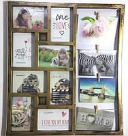 Бронзовая фоторамка Семейные истории на 12 фото 10х15 см