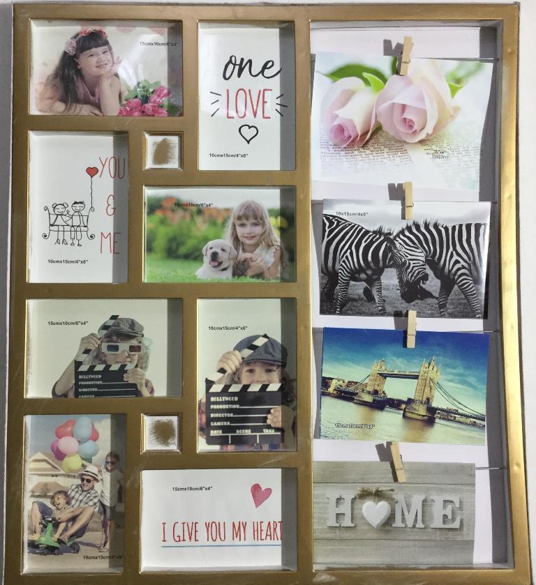 Мультирамка золотая Семейные истории на 12 фото 10х15 см