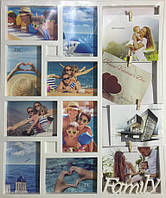 Фоторамка белая Семейные истории на 12 фото 13х18 см