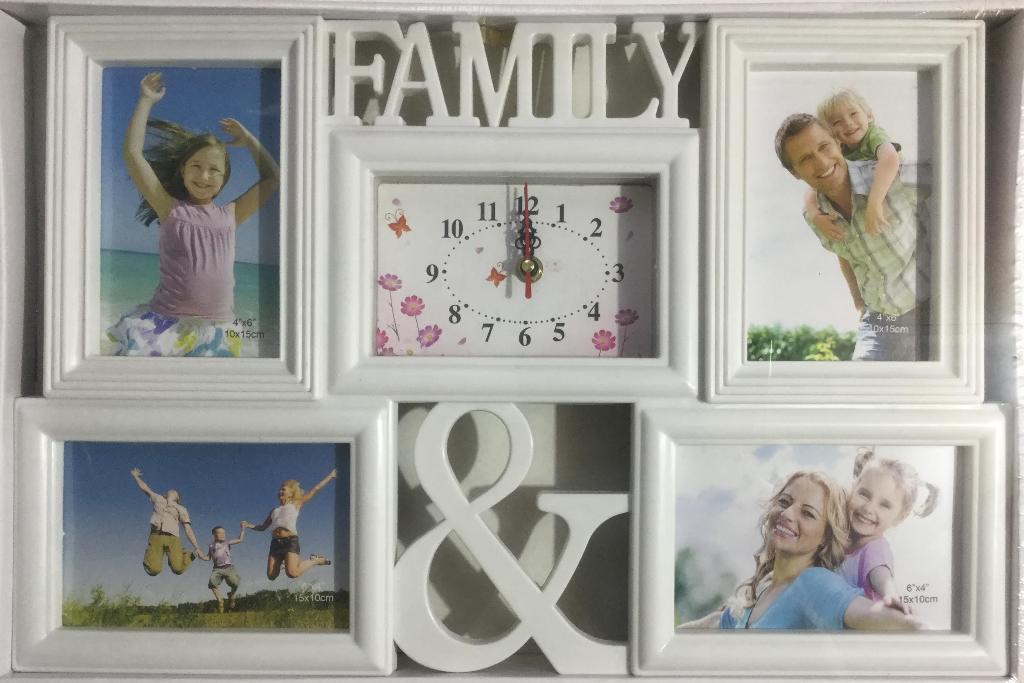 """Фоторамка часы """"Family"""" для 4 фото 10х15 см"""